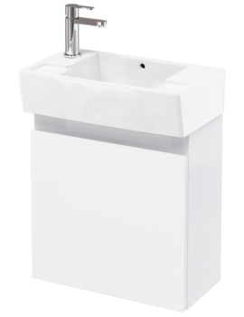 Aqua Cabinets Compact 305 Wall Hung Unit And LH Cloakroom Basin