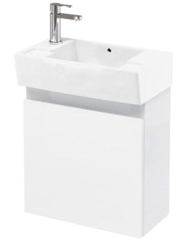 Britton Aqua Cabinets Compact 305 Wall Hung Unit And LH Cloakroom Basin