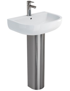 Britton Compact 550mm Basin With Stainless Steel Pedestal