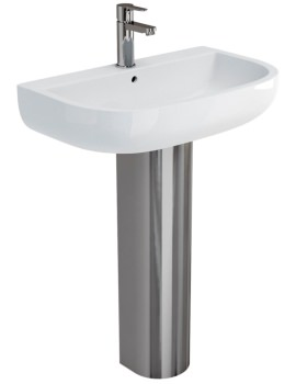 Britton Compact 650mm Basin With Stainless Steel Pedestal