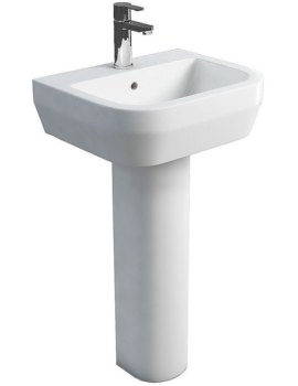 Curve S30 500mm Washbasin And Round Tall Pedestal