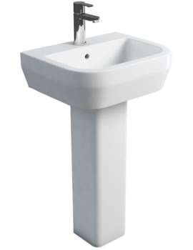 Curve S30 Wash Basin 500mm With Square Fronted Pedestal