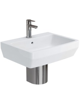 Cube S20 Basin 600mm With Stainless Steel Semi Pedestal