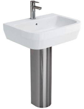 Curve S30 Washbasin 600mm With Stainless Steel Pedestal