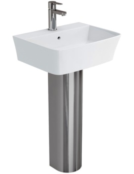 Fine S40 Basin 50cm With Stainless Steel Full Pedestal