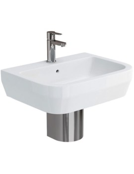 Curve S30 600mm Basin With Stainless Steel Semi Pedestal