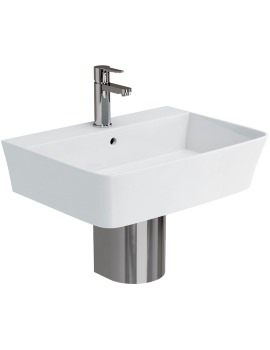 Fine S40 600mm Basin With Stainless Steel Semi Pedestal