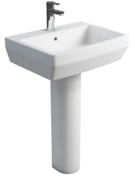 Britton Cube S20 600mm Washbasin With Round Full Pedestal