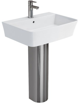 Fine S40 Basin 600mm With Stainless Steel Full Pedestal