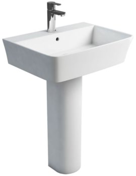 Fine S40 White Basin 600mm With Round Full Pedestal