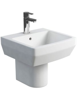 Cube S20 500mm Washbasin With Round Semi Pedestal