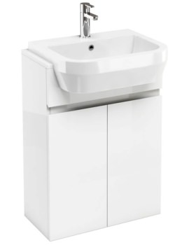 Britton Aqua Cabinets D30 White Semi-Recessed Basin Unit 600mm