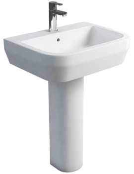 Curve S30 600mm Washbasin With Round Full Pedestal