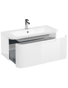 Britton Aqua Cabinets Compact 900mm 1 Drawer Wall Hung Basin Vanity Unit