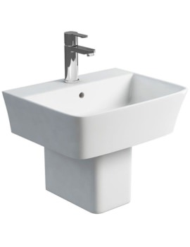 Fine S40 500mm Washbasin With Square Semi Pedestal