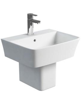 Britton Fine S40 500mm Washbasin With Square Semi Pedestal