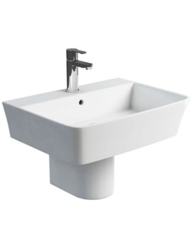 Fine S40 White Washbasin 600mm With Round Semi Pedestal