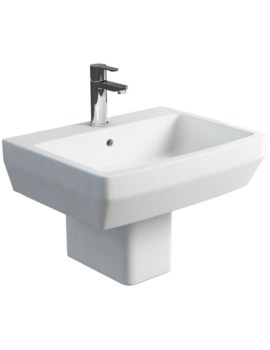 Britton Cube S20 Square 600mm Washbasin And Semi Pedestal