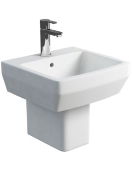 Cube S20 Square 500mm Washbasin With Semi Pedestal