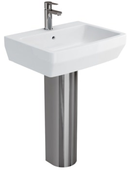 Cube S20 Washbasin 600mm With Stainless Steel Pedestal