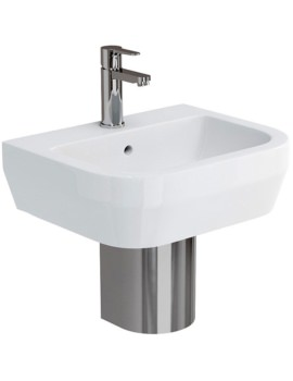 Curve S30 500mm Basin With Stainless Steel Semi Pedestal