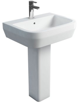 Curve S30 Wash Basin 600mm With Square Fronted Pedestal