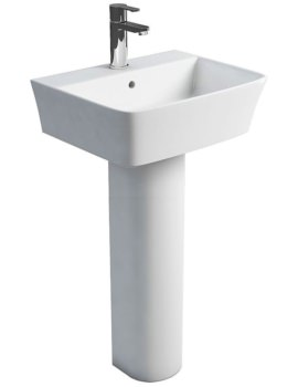 Britton Fine S40 500mm Washbasin With Round Tall Pedestal