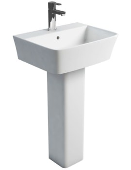 Fine S40 500mm Washbasin With Square Full Pedestal