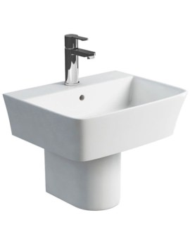 Fine S40 Wash Basin 500mm With Round Semi Pedestal