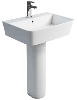 Fine S40 600mm Washbasin With Round Tall Pedestal