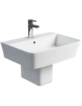 Fine S40 600mm Washbasin With Square Semi Pedestal
