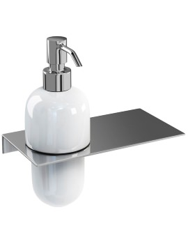 Ceramic Soap Dispenser With Offset Stainless Steel Shelf
