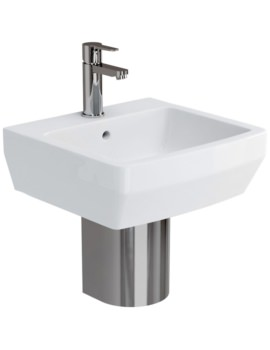 Cube S20 Basin 500mm With Stainless Steel Semi Pedestal