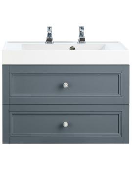 Caversham Graphite 700mm 2 Drawer Wall Hung Furniture Vanity Unit