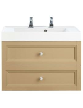 Caversham Oak 700mm 2 Drawer Wall Hung Furniture Vanity Unit