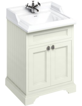Burlington Freestanding 650mm Sand Double Door Unit With Classic Basin