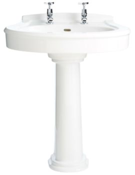 Claverton 714mm 2 Tapholes Standard Basin And Full Pedestal