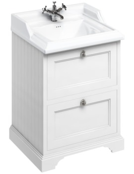 Freestanding 650mm Matt White Two Drawer Unit With Classic Basin