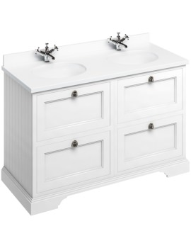 1300mm Matt White 4 Drawer Unit And Minerva Worktop With Basin