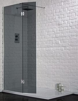 1200mm x 2000mm Wetroom 8 Smoked Glass Panel With Return
