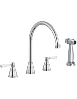Abode Astbury Chrome 3 Hole Kitchen Mixer Tap With Handspray