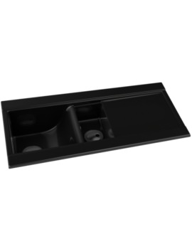 Tydal Black Glaze 1.5 Bowl Ceramic Kitchen Sink With Drainer