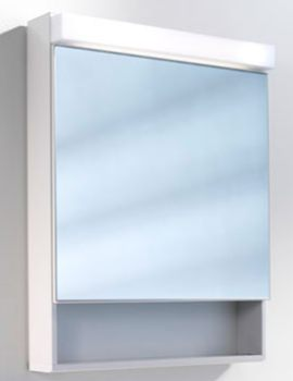 Lowline 60cm 1 Door Mirror Cabinet With Open Shelf Below
