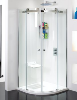 Motion Frame-less Twin Slide Door Shower Quadrant 900mm-SE082