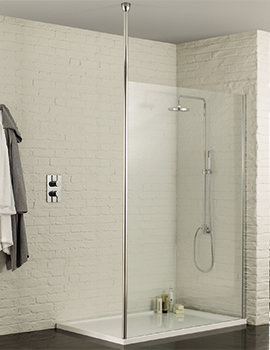 Aquadart Wetroom 8 Walk-In 1200mm Shower Panel With Ceiling Post
