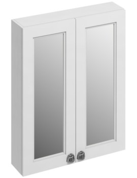 600mm Double Door Mirror Cabinet Matt White