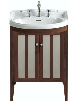 Hidcote Freestanding Bowfront Medium Walnut Vanity Unit