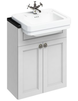 Burlington 600mm Double Door Unit Matt White With Semi Recessed Basin