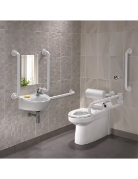 Twyford Doc.M Rimless BTW WC Pack With White Grab Rails And Seat