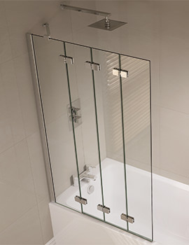 Prestige 965 x 1500mm Frameless 4 Fold Bath Screen